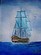 Warship Painting Posters - The Loner Poster by Glory Fraulein Wolfe
