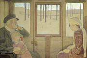 Daughters Painting Prints - The Long Journey Print by Frederick Cayley Robinson