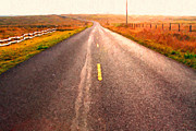 Old Country Roads Prints - The Long Road Home . Painterly Style Print by Wingsdomain Art and Photography