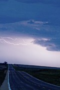 Unusual Lightning Posters - The Long Road Into the Storm Poster by James Bo Insogna