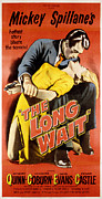 1950s Poster Art Photo Framed Prints - The Long Wait, Anthony Quinn, Peggie Framed Print by Everett