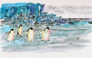 Penguins Prints - The Long Walk 2 Print by Carolyn Doe