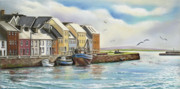 Dock Prints Posters - The Long Walk Claddagh Galway Poster by Vanda Luddy