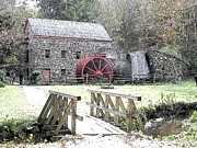 Longfellow Prints - The Longfellow Grist Mill Print by Kim Galluzzo Wozniak