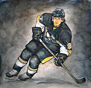  Hockey Painting Framed Prints - The Look of a Champion Framed Print by Erik Schutzman