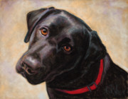 Dogs Pastels Prints - The Look of Love Print by Billie Colson