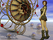 Steampunk Digital Art Prints - The Looking Glass Print by Sandra Bauser Digital Art