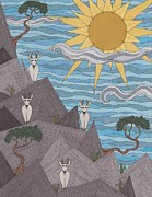 Mountain Goat Drawings - The Lookout by Pamela Schiermeyer