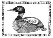 Fishermen Drawings - The Loon and The Fishermen by Zelde Grimm
