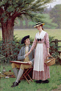 Al Fresco Metal Prints - The Lord of Burleigh Metal Print by Edmund Blair Leighton