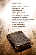 Christian Sacred Metal Prints - The Lords Prayer and Bible Metal Print by Olivier Le Queinec