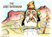 Mountains Drawings - The Lost Dutchman by Cristophers Dream Artistry