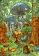 Kids Books Drawings Prints - The Lost Library Forest Print by Luis Peres