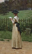 Concentrating Framed Prints - The Love Letter Framed Print by Edmund Blair Leighton