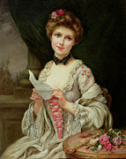 Billet Doux; Female; Seated; Sitting; Roses; Fan; Black Bow; Wistful; Pretty; Costume; Dress; Beauty; Jewellery; Jewelry; In Love; Valentine; Beauty Prints - The Love Letter Print by Francois Martin-Kayel