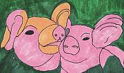 The Love Piglets Print by Golden Dragon