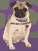 Pet Portraits Digital Art Posters - The Love Pug Poster by Kris Hackleman