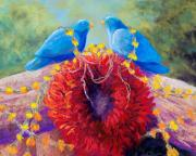 Bluebird Pastels Framed Prints - The Lovebirds Framed Print by Candy Mayer