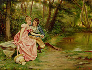 Pink Dress Posters - The Lovers Poster by Joseph Frederick Charles Soulacroix