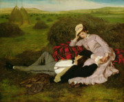 Woman Relaxing Prints - The Lovers Print by Pal Szinyei Merse