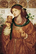 Red Hair Painting Posters - The loving cup Poster by Dante Charles Gabriel Rossetti