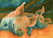 Pig Prints - The Lucky Ones Print by Tracy L Teeter