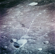 Craters Posters - The Lunar Surface From Apollo 14 Poster by Nasa