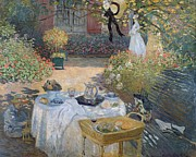 Al Fresco Metal Prints - The Luncheon Metal Print by Claude Monet