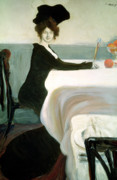 Champagne Painting Prints - The Luncheon Print by Leon Bakst