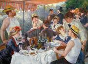 Dog Framed Prints - The Luncheon of the Boating Party Framed Print by Pierre Auguste Renoir