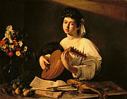 Michelangelo Painting Posters - The Lute Player Poster by Michelangelo Merisi da Caravaggio