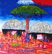 Maasai Painting Originals - The Maasai Family by Sedo Chongore