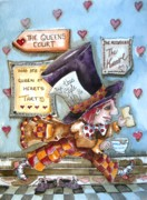 Mad Hatter Painting Prints - The Mad Hatter - in court Print by Lucia Stewart