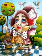 Alice Wonderland Wonderland Paintings - The Mad Hatter by Lucia Stewart