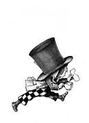 Mad Hatter Posters - The Mad Hatter no 2 Pencil Drawing Poster by Debbie Engel