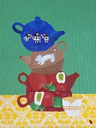 Mad Hatter Painting Posters - The Mad Hatter Tea Party Present Day  Poster by J D  Fields 