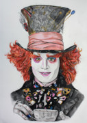 Mad Hatter Drawings - The MAD HATTER by Wendy Rodgers