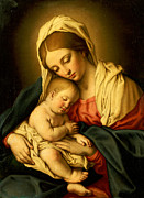 Card Paintings - The Madonna and Child by Il Sassoferrato