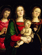 St John The Baptist Prints - The Madonna and Child with St. John the Baptist and St. Catherine of Alexandria  Print by Pietro Perugino