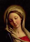 Card Paintings - The Madonna by Il Sassoferrato