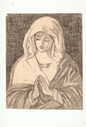 Mother Of God Drawings - The Madonna in Prayer by Sassaferrato by Iris Devadason