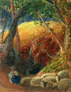 Shepherdess Metal Prints - The Magic Apple Tree Metal Print by Samuel Palmer