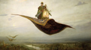 Cloudy Posters - The Magic Carpet Poster by Apollinari Mikhailovich Vasnetsov