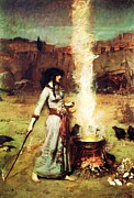 Waterhouse Painting Prints - The Magic Circle Print by Pg Reproductions