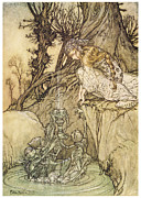 Fantasy Tree Art Painting Posters - The Magic Cup Poster by Arthur Rackman