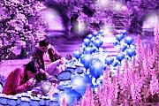 Pathways Digital Art Acrylic Prints - The Magic Water Flower Path Purple Acrylic Print by Cathy  Beharriell