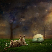Tiger Digital Art Prints - The magical of life Print by Martine Roch