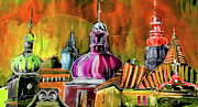 Czech Republic Digital Art Metal Prints - The Magical Rooftops of Prague 01 Metal Print by Miki De Goodaboom