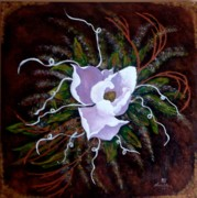 Raw Umber Metal Prints - The Magnolia Metal Print by Bertha Hamilton