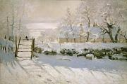 Winter Landscape. Snow Framed Prints - The Magpie Framed Print by Claude Monet